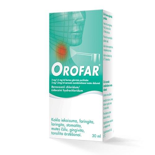 Heksoral Tabletes.Orofar 2mg Oral Purskalas 30ml
