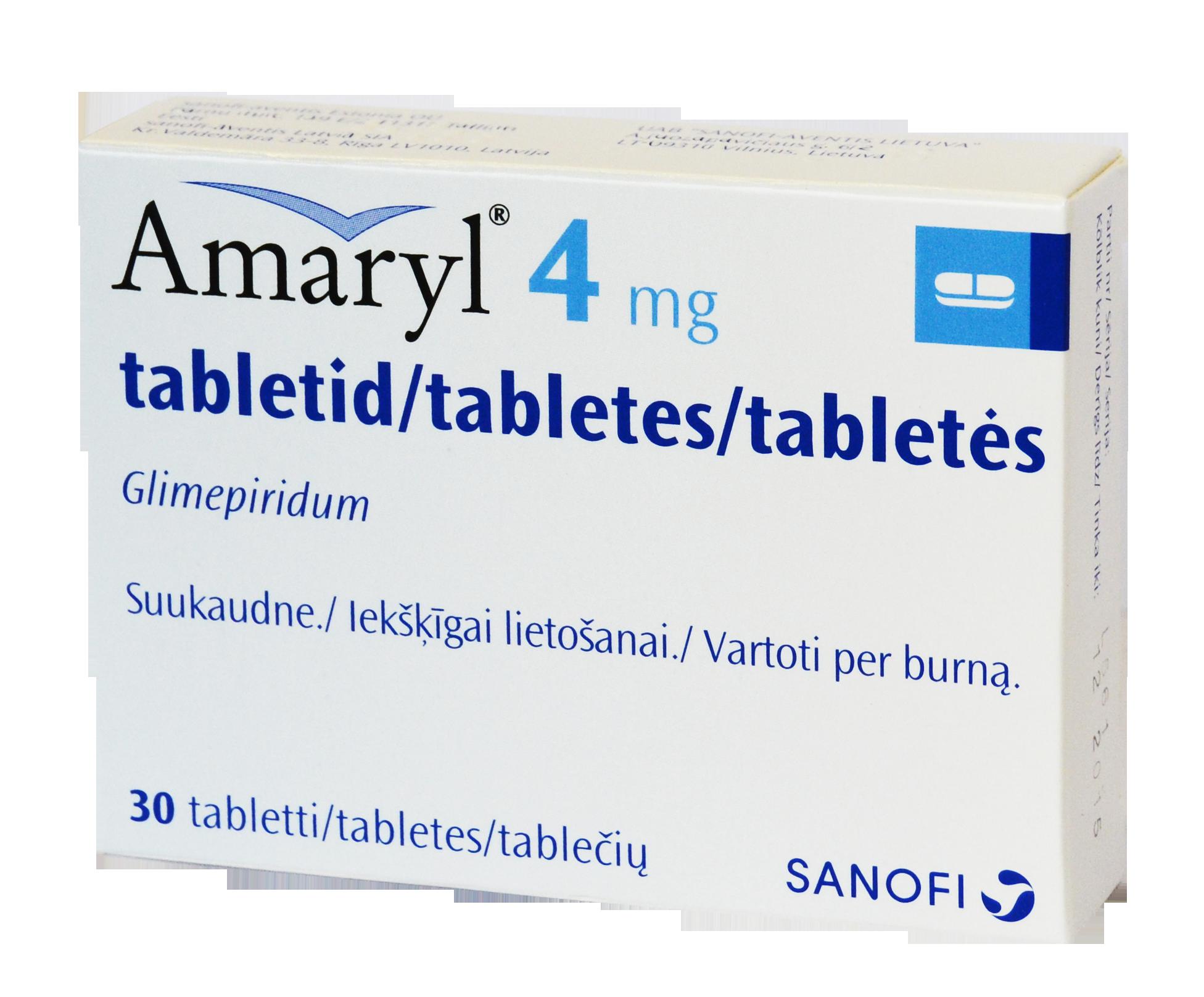 GLIMEPIRIDE 4 MG TABLET (Generic Amaryl) - G - ALL - Cheap ...